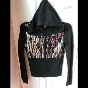 Victoria Secret pink silver logo bling full zip XS